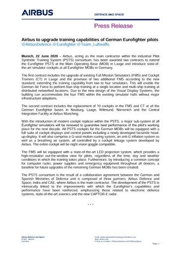 Airbus to upgrade training capabilities of German Eurofighter pilots