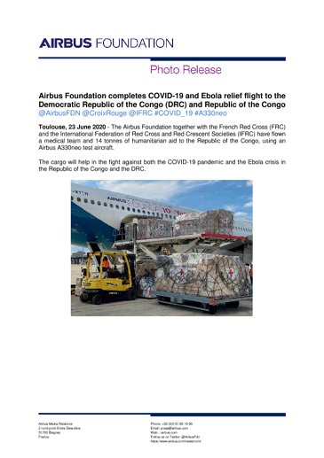 Airbus Foundation completes COVID-19 and Ebola relief flight to the Democratic Republic of the Congo (DRC) and Republic of the Congo