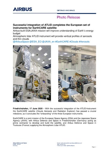 Successful integration of ATLID completes the European set of instruments for EarthCARE satellite