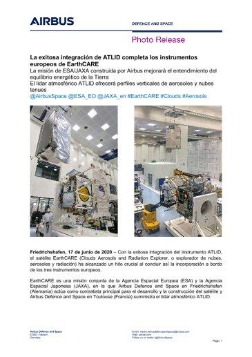 La exitosa integración de ATLID completa los instrumentos europeos de EarthCARE