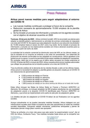 Airbus prevé nuevas medidas para seguir adaptándose al entorno del COVID-19