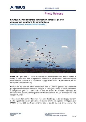 L'Airbus A400M obtient la certification complète pour le déploiement simultané de parachutistes