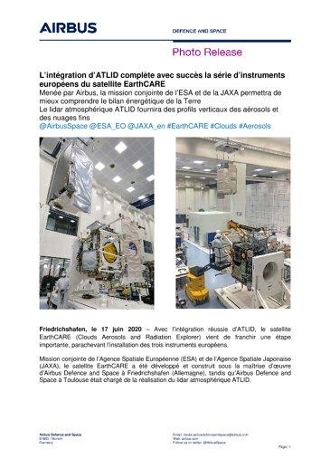 L'intégration d'ATLID complète avec succès la série d'instruments européens du satellite EarthCARE
