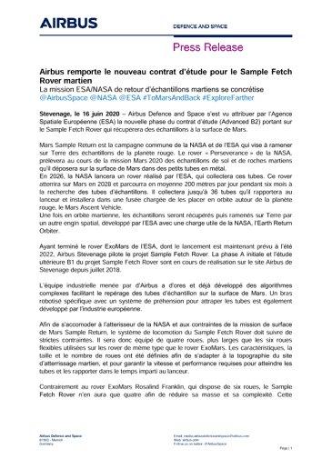 Airbus remporte le nouveau contrat d'étude pour le Sample Fetch Rover martien
