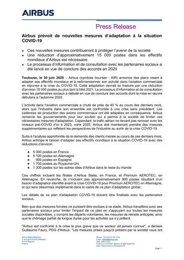 Airbus prévoit de nouvelles mesures d'adaptation à la situation COVID-19