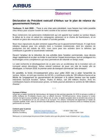 Airbus CEO Statement on French Plan de relance