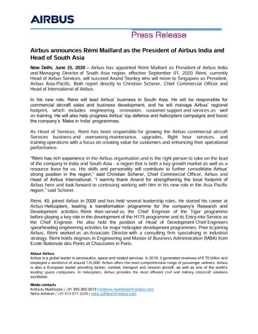 Airbus announces Rémi Maillard as the President of Airbus India and Head of South Asia
