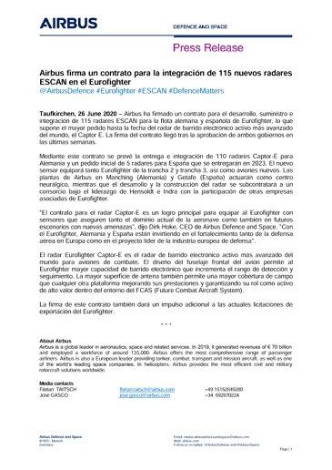 Airbus firma un contrato para la integración de 115 nuevos radares ESCAN en el Eurofighter