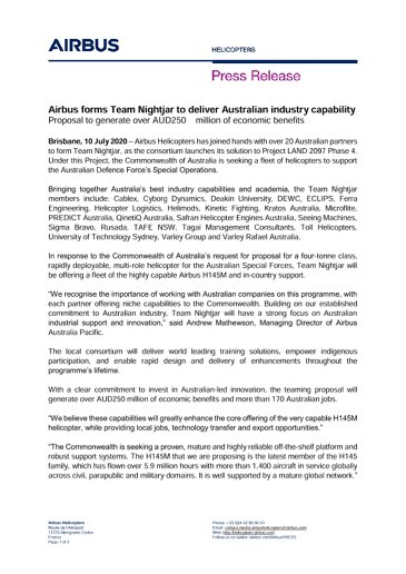 Airbus forms Team Nightjar to deliver Australian industry capability