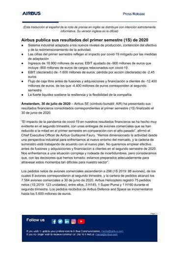 Airbus publica sus resultados del primer semestre (1S) de 2020