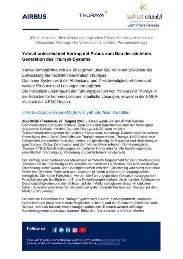 Yahsat unterzeichnet Vertrag mit Airbus zum Bau der nächsten Generation des Thuraya-Systems