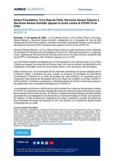 Airbus Foundation, Cruz Roja de Chile, Servicios Aereos Kipreos y