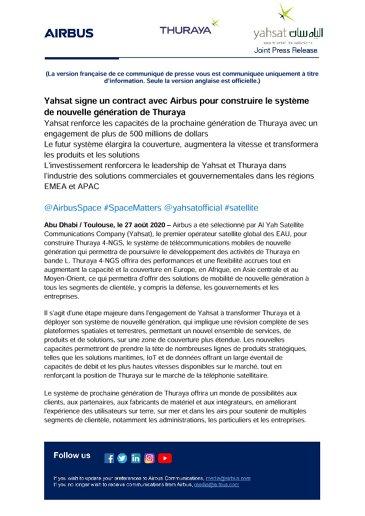 Yahsat signe un contract avec Airbus pour construire le système de nouvelle génération de Thuraya