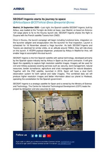 SEOSAT-Ingenio starts its journey to space
