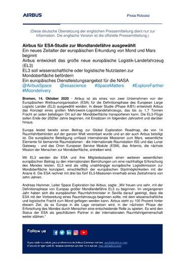 Airbus für ESA-Studie zur Mondlandefähre ausgewählt