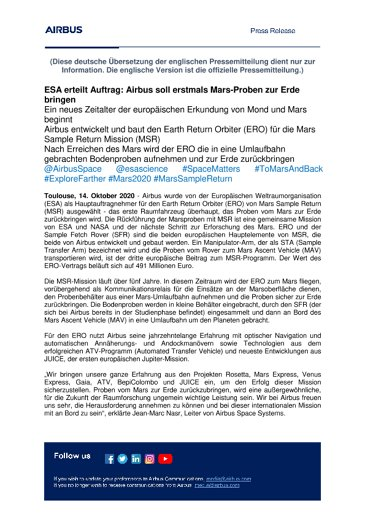 ESA erteilt Auftrag: Airbus soll erstmals Mars-Proben zur Erde bringen