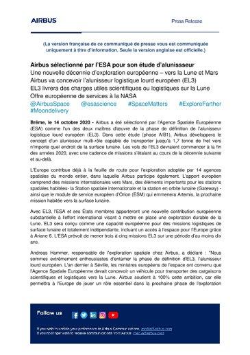 Airbus sélectionné par l'ESA pour son étude d'alunissseur