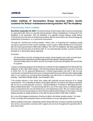 Indian Institute of Aeronautics Group becomes India's launch customer for Airbus' maintenance training solution 'ACT for Academy'