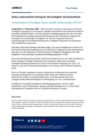 Airbus unterzeichnet Vertrag für 38 Eurofighter mit Deutschland