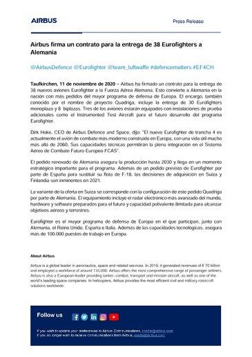 Airbus firma un contrato para la entrega de 38 Eurofighters a Alemania