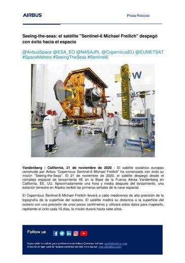 """Seeing-the-seas: el satélite """"Sentinel-6 Michael Freilich"""" despegó con éxito hacia el espacio"""