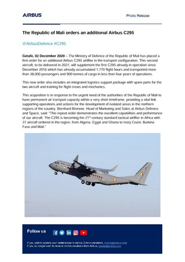 The Republic of Mali orders an additional Airbus C295