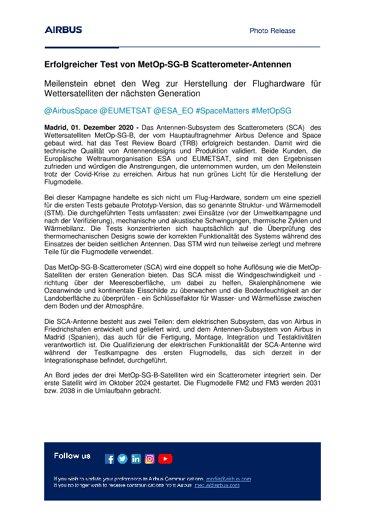 Erfolgreicher Test von MetOp-SG-B Scatterometer-Antennen