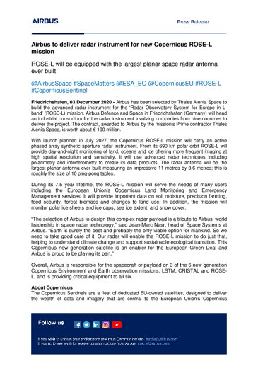 Airbus to deliver radar instrument for new Copernicus ROSE-L mission