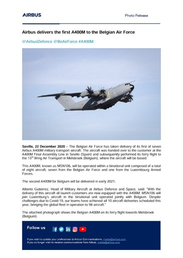Airbus delivers the first A400M to the Belgian Air Force