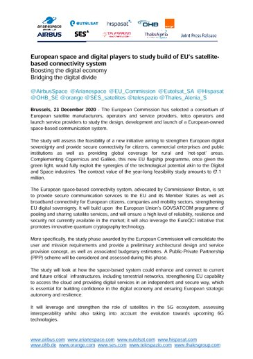 European space and digital players to study build of EU's satellite-based connectivity system