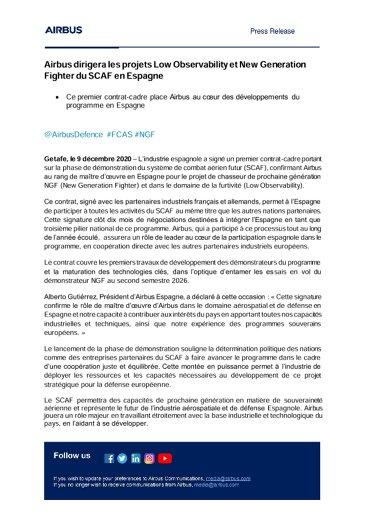 Airbus dirigera les projets Low Observability et New Generation Fighter du SCAF en Espagne