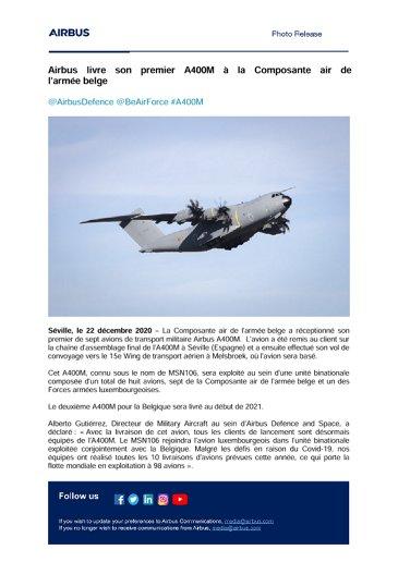 Airbus livre son premier A400M à la Composante air de l'armée belge
