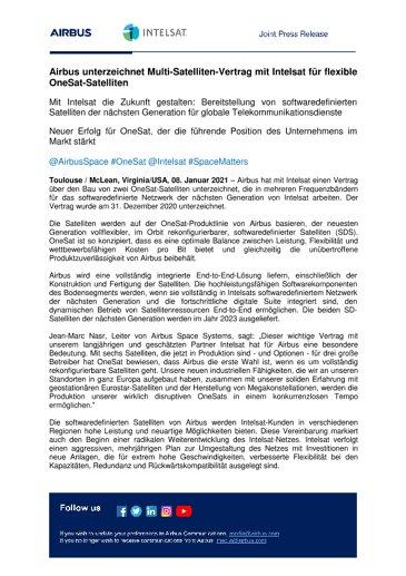 Airbus unterzeichnet Multi-Satelliten-Vertrag mit Intelsat für flexible OneSat-Satelliten