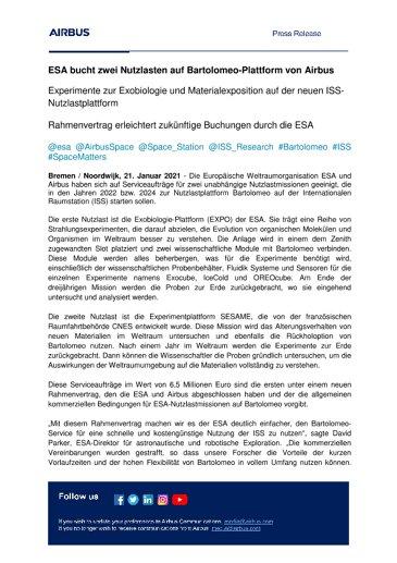 ESA bucht zwei Nutzlasten auf Bartolomeo-Plattform von Airbus