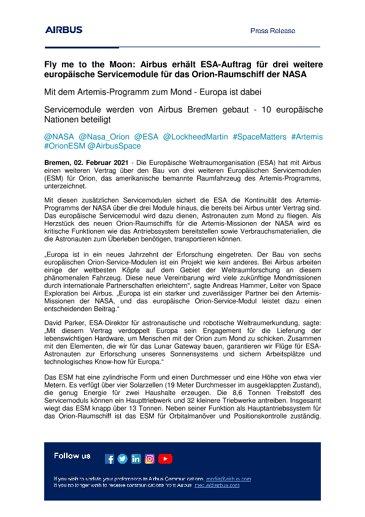 Fly me to the Moon: Airbus erhält ESA-Auftrag für drei weitere europäische Servicemodule für das Orion-Raumschiff der NASA