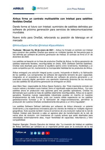 Airbus firma un contrato multisatélite con Intelsat para satélites flexibles OneSat
