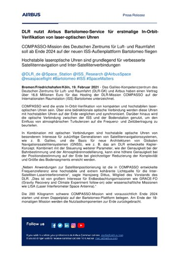 DLR nutzt Airbus Bartolomeo-Service für erstmalige In-Orbit-Verifikation von laser-optischen Uhren