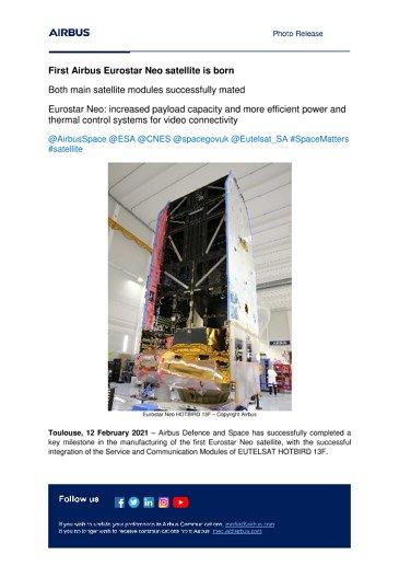 First Airbus Eurostar Neo satellite is born