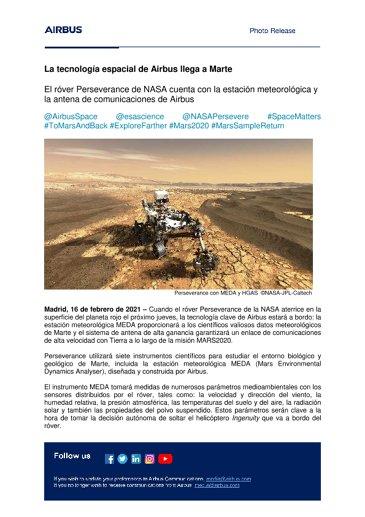 La tecnología espacial de Airbus llega a Marte