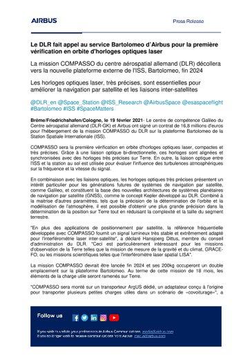 Le DLR fait appel au service Bartolomeo d'Airbus pour la première vérification en orbite d'horloges optiques laser