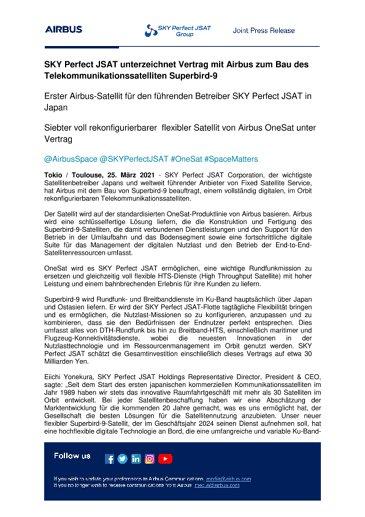 SKY Perfect JSAT unterzeichnet Vertrag mit Airbus zum Bau des Telekommunikationssatelliten Superbird-9