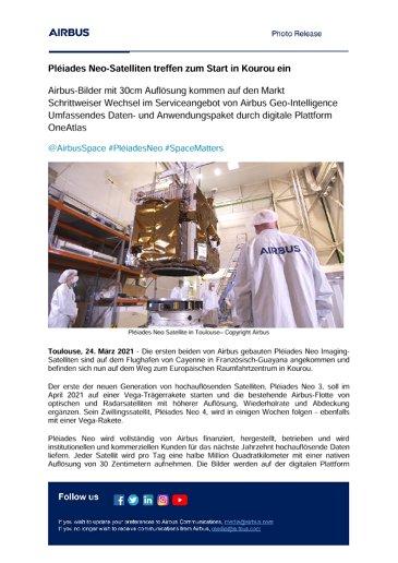 Pléiades Neo-Satelliten treffen zum Start in Kourou ein