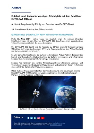 Eutelsat wählt Airbus für wichtigen Orbitalplatz mit dem Satelliten EUTELSAT 36D aus