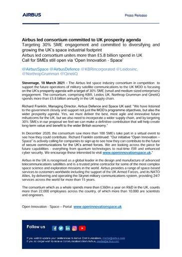 Airbus led consortium committed to UK prosperity agenda