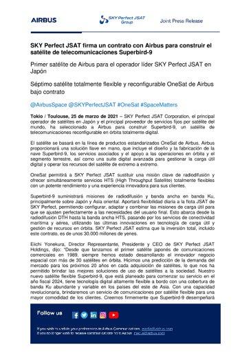 SKY Perfect JSAT firma un contrato con Airbus para construir el satélite de telecomunicaciones Superbird-9