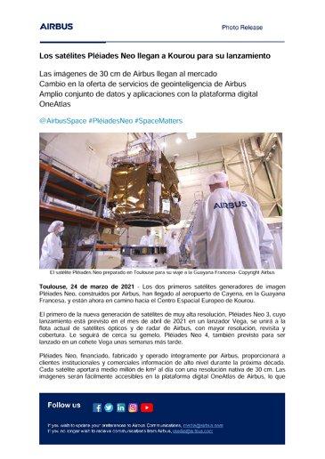 Los satélites Pléiades Neo llegan a Kourou para su lanzamiento