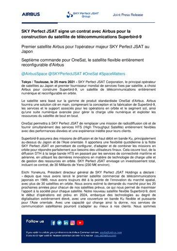 SKY Perfect JSAT signe un contrat avec Airbus pour la construction du satellite de télécommunications Superbird-9