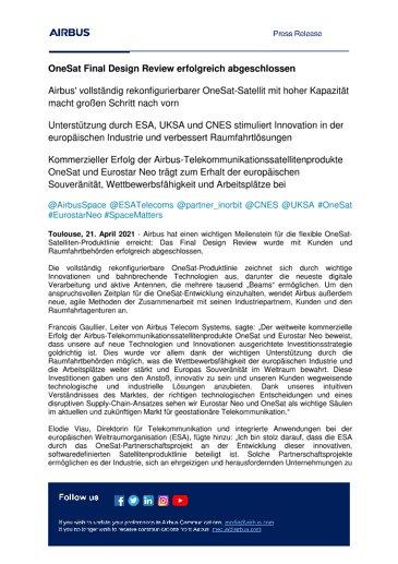 OneSat Final Design Review erfolgreich abgeschlossen