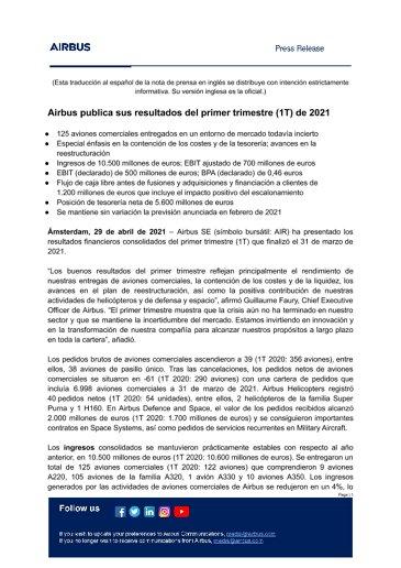 Airbus publica sus resultados del primer trimestre (1T) de 2021