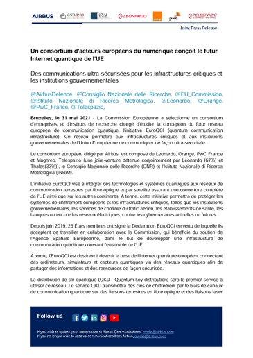 Un consortium d'acteurs européens du numérique conçoit le futur Internet quantique de l'UE